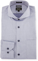 Neiman Marcus Trim-Fit Regular-Finish Dotted Dress Shirt, Navy