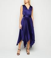 New Look Satin Belted Hanky Hem Pleated Midi Dress