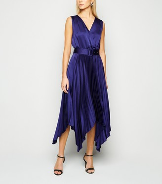 New Look Satin Belted Hanky Hem Pleated Midi Dress