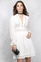 Rare White Crochet Trim Long Sleeve Dress
