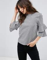 Only Gingham Tiered Sleeve Blouse