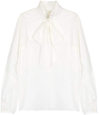 RED Valentino Ivory Ruffle-trimmed Silk Top
