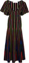 Carolina Herrera Striped Stretch-Knit Midi Dress