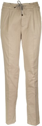 Brunello Cucinelli Garment Dyed Leisure Fit Drawstring Pleated Trousers In Cotton Gabardine