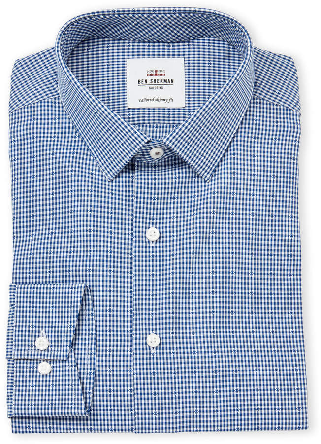 Ben Sherman Tailored Skinny Fit Dobby Gingham Dress Shirt