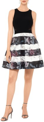 Xscape Evenings Floral Stripe Fit & Flare Dress