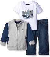 Calvin Klein Baby-Boys French Terry Jacket with Short Sleeve Tee and Jeans