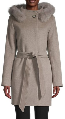 Cinzia Rocca Icons Fox Fur-Trimmed Wool Cashmere Car Coat