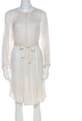 Isabel Marant Cream Chiffon Frayed Trim Tunic Dress S