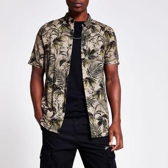River Island Mens Khaki floral slim fit shirt