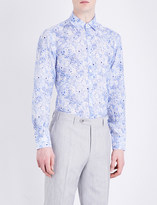 Canali Regular-fit floral-pattern linen shirt