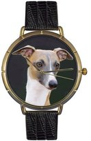 Whimsical Watches Women's N0130046 Greyhound Black Leather And Goldtone Photo Watch