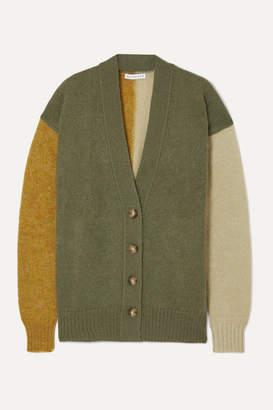 REJINA PYO Murphy Color-block Mohair-blend Cardigan - Army green