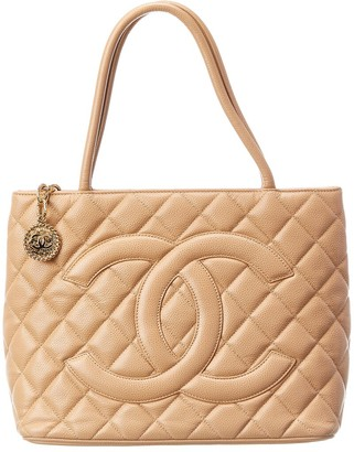 Chanel Beige Caviar Leather Medallion Tote
