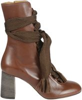 Chloé Harper Ankle Boots From Brown Harper Ankle Boots With Lace-up Front Fastening, Fringe Details, Side Zip Fastening, Stacked 70mm Heel And Almond