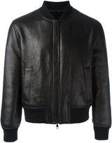Neil Barrett zipped bomber jacket - men - Leather/Lamb Fur/Wool/Spandex/Elastane - L