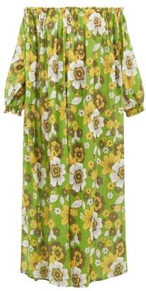 Dodo Bar Or Julie Off-the-shoulder Floral-print Cotton Dress - Womens - Green Print