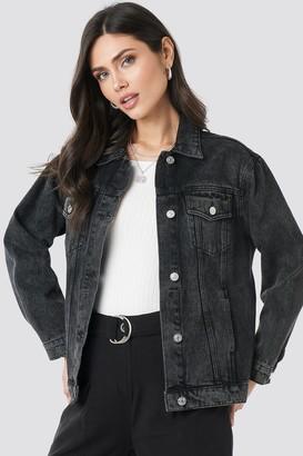 NA-KD Long Oversized Denim Jacket Black