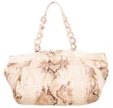 Nancy Gonzalez Metallic Pink Python Chain Tote