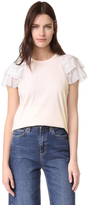 Clu Ruffle Sleeve Mix Media Top