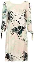 Wallis Monochrome Palm Print Tie Sleeve Shift Dress