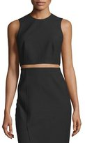 Elizabeth and James Bowen Sleeveless Crepe Cropped Top, Black