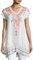 Johnny Was Letty Embroidered Silk-Georgette Top, Petite