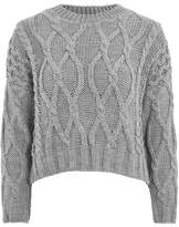 cropped cable knit sweater - ShopStyle