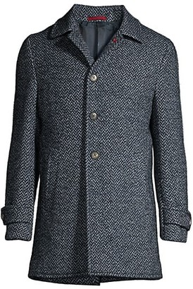 Isaia Herringbone Wool Overcoat