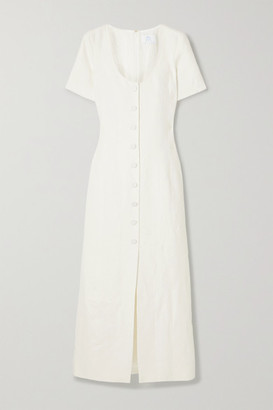 Rebecca De Ravenel Lots Of Love Linen Midi Dress - White