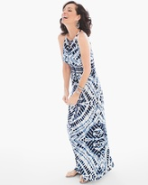 Chico's Blue Diamond Tie-Dye Maxi Dress