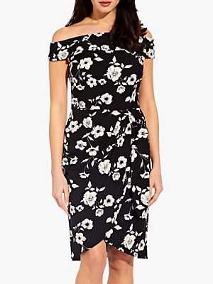 Adrianna Papell Living Blooms Off Shoulder Dress, Black/Ivory