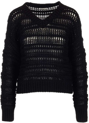 Brunello Cucinelli V-Neck Crochet Sweater