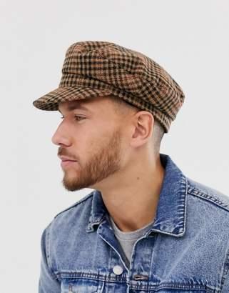 Asos Design DESIGN mariner in brown check-Gray