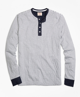 Brooks Brothers Micro-Stripe Dufold Cotton Henley
