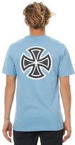Independent New Men's Bar Cross Mens Tee Crew Neck Short Sleeve Cotton Blue