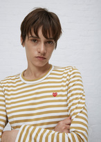 Comme des Garcons white / mustard stripe long sleeve small red heart t-shirt