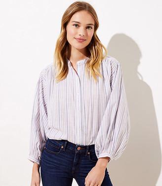 LOFT Petite Striped Hi-Lo Button Down Shirt