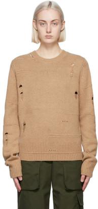 Helmut Lang Tan Distressed Sweater