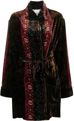 Pierre Louis Mascia Mixed-Print Belted Coat