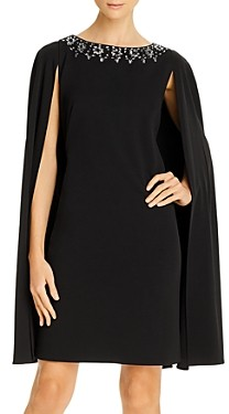 Adrianna Papell Bead Detail Cape Dress