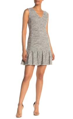 Rebecca Taylor Sleeveless Tweed Ruffle Hem Sheath Dress
