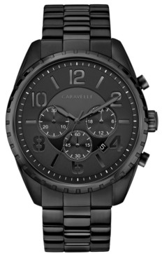 Caravelle Designed by Bulova Men's Chronograph Black Stainless Steel Bracelet Watch 44mm