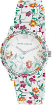 Laura Ashley Ainsley Ditsy Pattern Printed Watch With Round Silver-Tone Dial And Crystals Around Bezel La31018J
