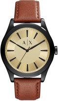 Armani Exchange A|X Men's Nico Dark Brown Leather Strap Watch 44mm AX2329