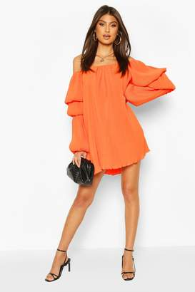 boohoo Plisse Off The Shoulder Puff Sleeve Swing Dress