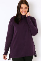 Yours Clothing Purple Roll Neck Longline Jumper With Lace Up Hem