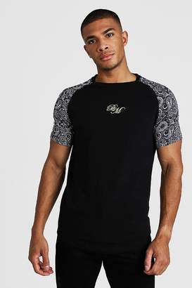 boohoo BM Muscle Fit Embroidered Paisley Mix Print T-Shirt