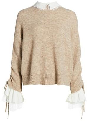 Cinq à Sept Atlas Bell-Sleeve Collared Sweater