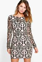 boohoo Boutique Vicky Sequin Velvet Bodycon Dress black